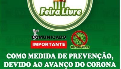 CORONAVÍRUS: Feira Livre é suspensa por 15 dias em Vicentina