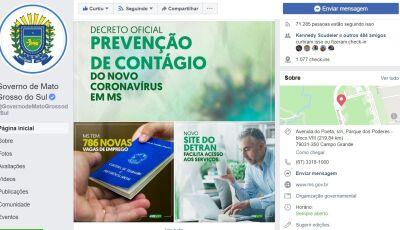 Governo de MS vai transmitir pela internet boletins diários do coronavírus