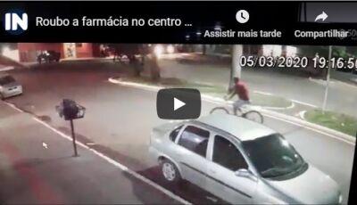 Vídeo mostra momento em que bandido rouba farmácia no centro de Deodápolis