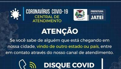 Disque Covid é criado para denúncias de aglomerações e pessoas vindas de outras cidades para Jateí