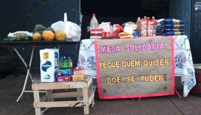 Mesa Solidária está recebendo muitos donativos e atendendo várias famílias em Fátima do Sul