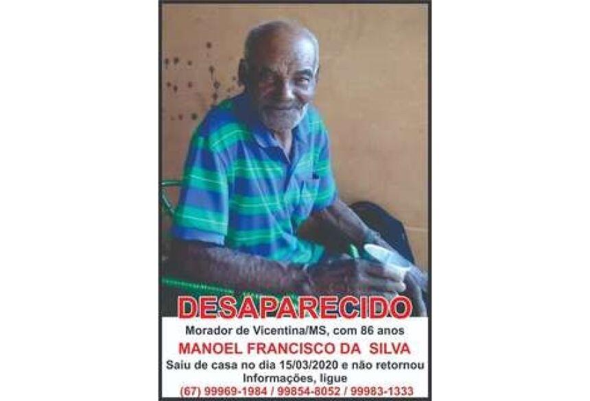 Seu Mané está desaparecido há quase 80 dias em Vicentina