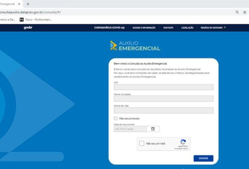Consulta para saber se o CPF foi usado para requerer o Auxílio Emergencial deve ser feita no site da Dataprev