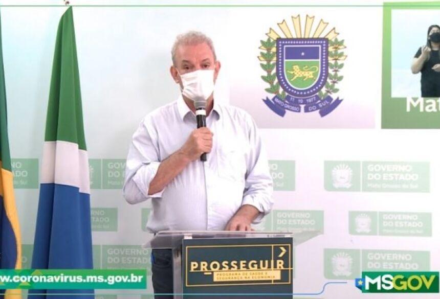 Titular da SES, Geraldo Resende, durante anúncio do boletim epidemiológico do novo coronavírus |