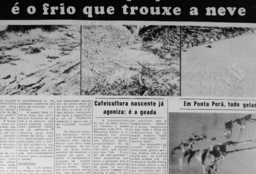 Manchete no jornal Correio do Estado, do 'frio histórico' registrado em MS.