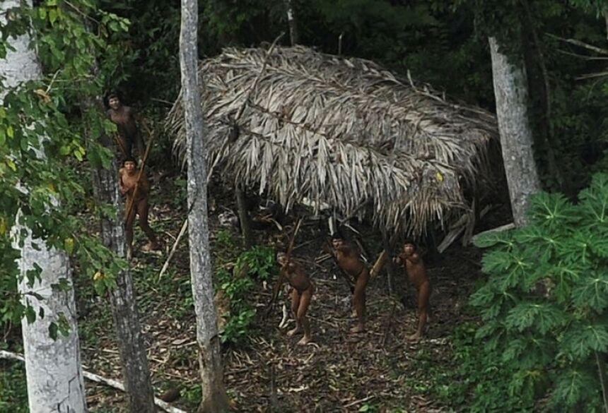 Índios considerados isolados por antropólogos apontam para avião na floresta amazônica