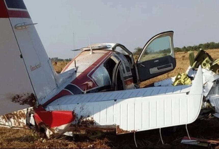 Avião fez pouso forçado em fazenda de Camapuã