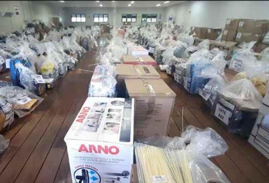 Produtos que estão sendo leiloados pela Sefaz. (Foto: Divulgação)