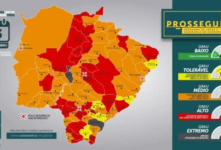 Mapa do Estado aponta situação de cada município