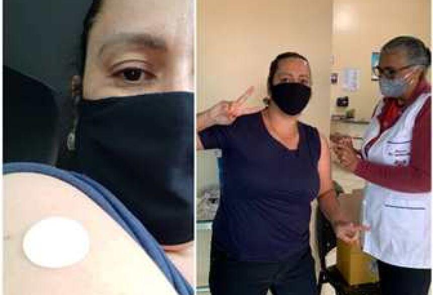 Professora jateiense recebe a vacina e comemora imunização