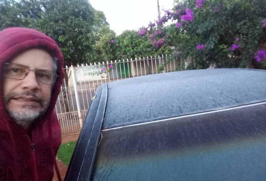 Fatimassulense Marcos Barbosa, registrou em seu veículo a mínima de 3º nesta terça feira