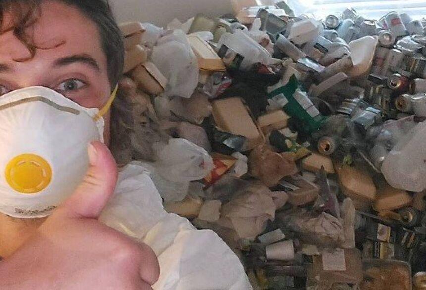 Responsável por limpeza de apartamento deixado com 8 mil latinhas de cerveja e caos Foto: Reprodução