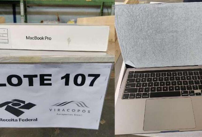 """Lote 107 com MacBook Pro 13"""" na cor cinza espacial - Crédito: Divulgação/Receita Federal"""