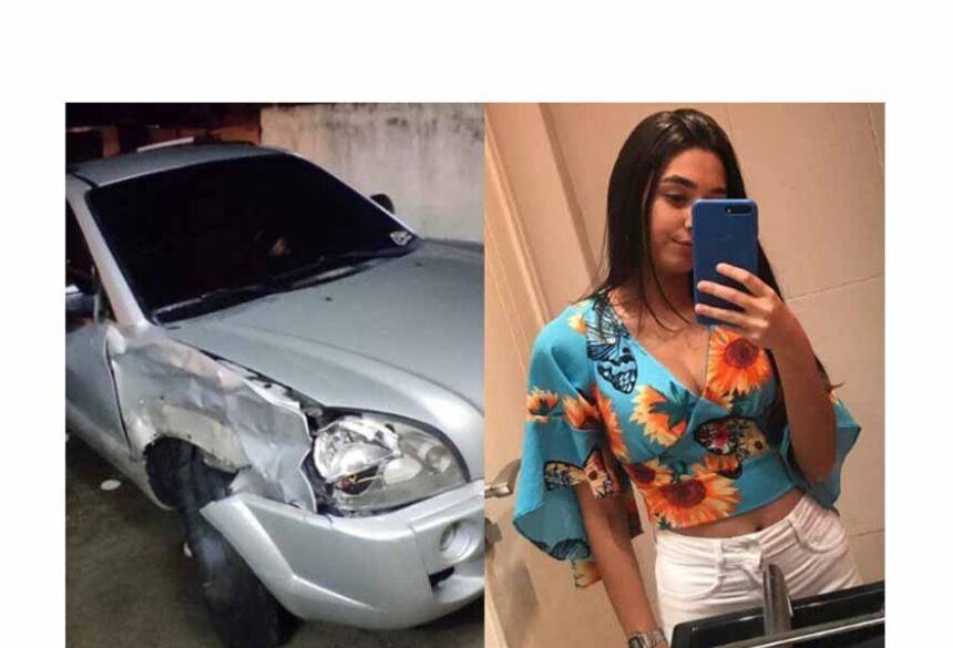 Vanessa Tamyris de 18 anos à direita. À esquerda está o veículo usado pelo suspeito. Foto: Reprodução