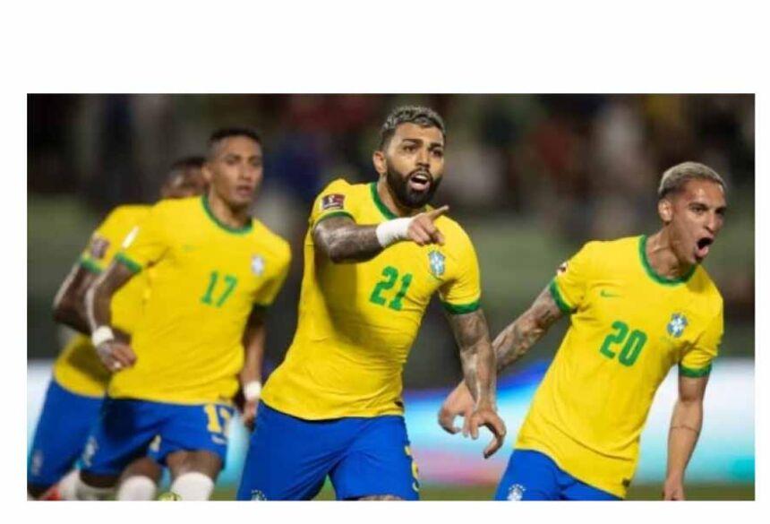 Gabigol comemora o gol da virada do Brasil sobre a Venezuela
