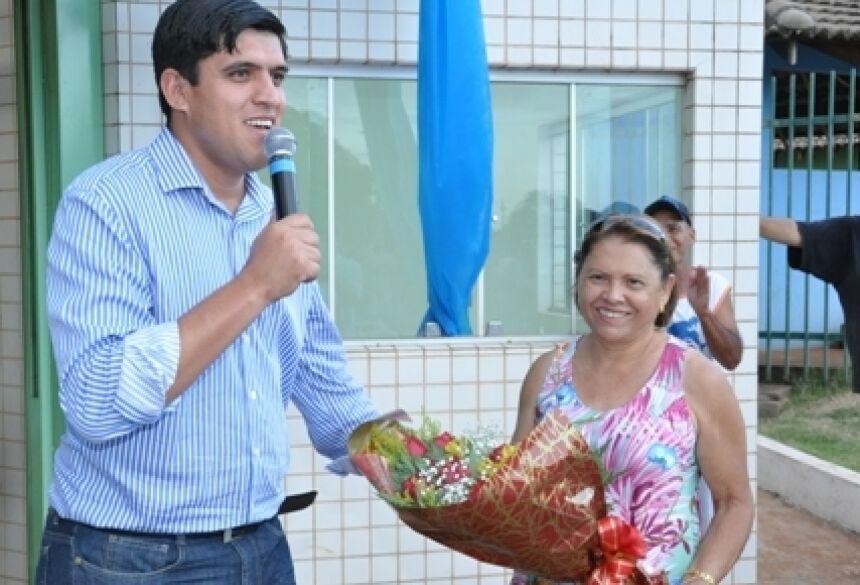 Prefeito Júnior e ex-primeira dama Aurinete (Foto: Rogério Sanches / Fátima News)