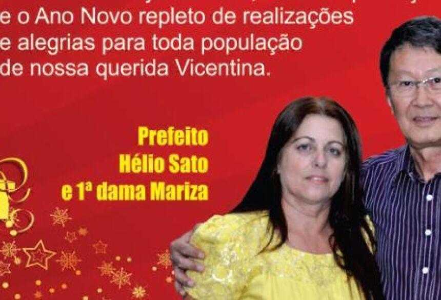 Prefeito Hélio Sato e primeira dama Mariza Sato, convidam a todos - Foto Montagem - Rogério Sacnhes / Fátima News