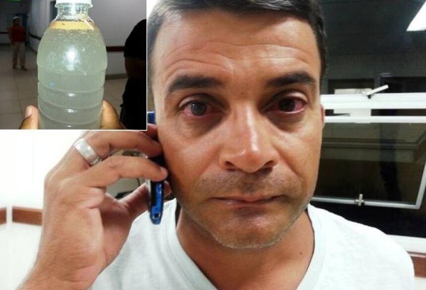 Rivaldo Ramos, turista do Rio Grande do Sul, ficou com irritação nos olhos logo depois de mergulhar na Praia da Tartaruga e fez a coleta da água para uma possível análise