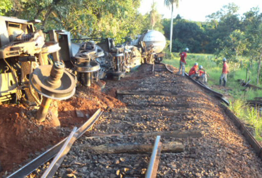 Trem descarrilou, fazendo com que óleo vazasse do tanque - Foto: Divulgação/PMA