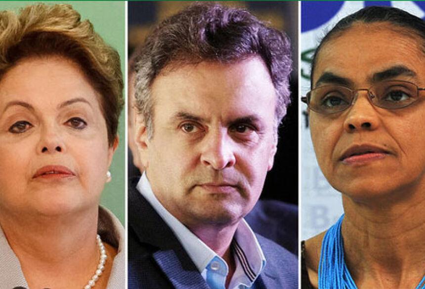 Dilma Rousseff (PT), Aécio Neves (PSDB), Marina Silva (PSB) (Divulgação/Valter Campanato/ABr/VEJA)