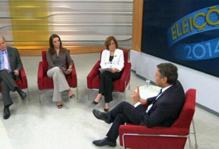 O candidato Aécio Neves (PSDB) em entrevista ao jornal Bom Dia Brasil, da Rede Globo