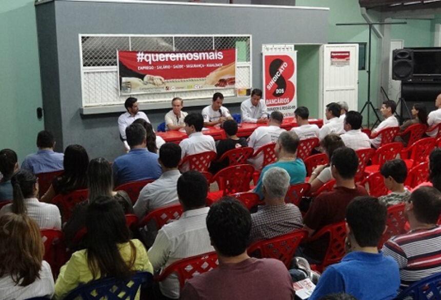 Greve foi decidida em assembleia em Dourados na noite desta segunda-feira Foto: Divulgação/Sind Bancários