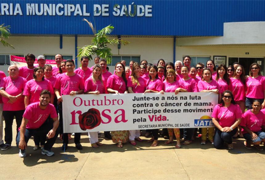 Profissionais envolvidos na Campanha Outubro Rosa em Jateí