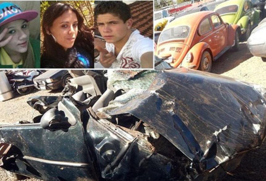No detalhe, da esquerda para a direita, Joyce, Débora e João, que morreram no acidente em Andradas <br>(Foto: Jornal Andradas Hoje Regional)