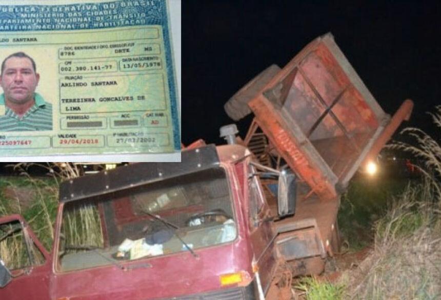 Caminhão saiu da pista e motorista morreu dentro da cabine (Foto: Olimar Gamarra)
