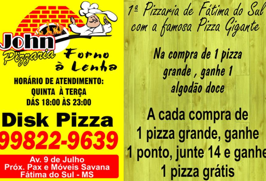 Hoje é dia de saborear as deliciosas pizzas da Jhon Pizzaria de FÁTIMA DO SUL