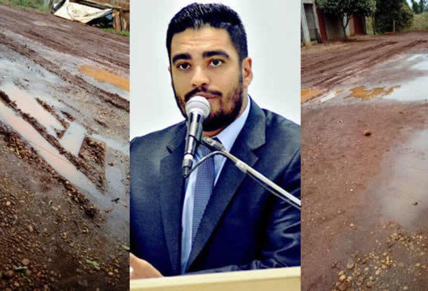 Diego Carcará pede providências nas ruas do Jardim C-Valle em Fátima do Sul