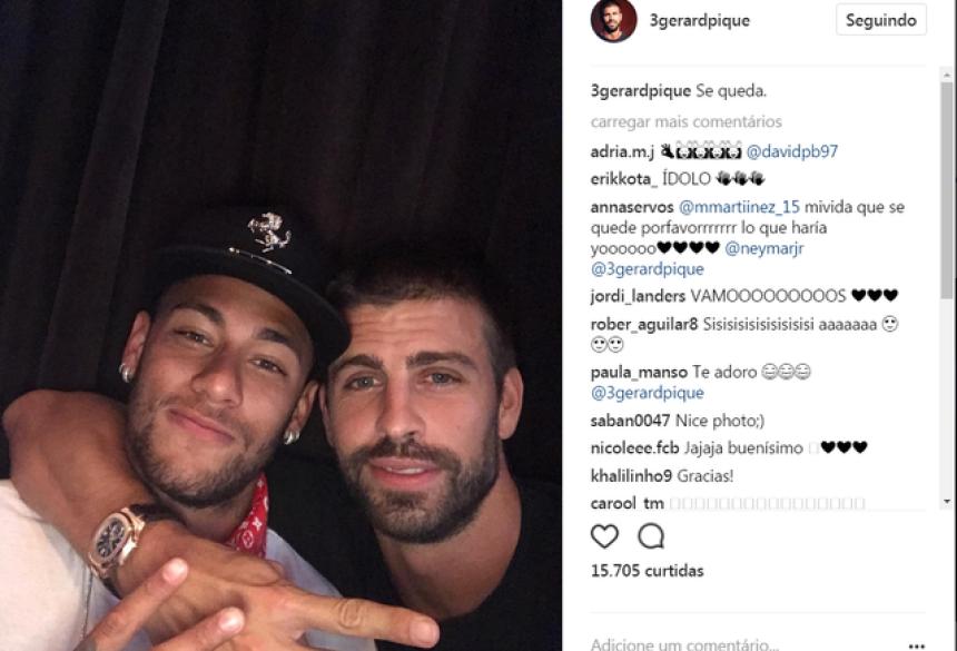 """Após """"anúncio"""" da permanência de Neymar, Piqué dará coletiva nesta terça (Foto: Reprodução / Instagram)"""
