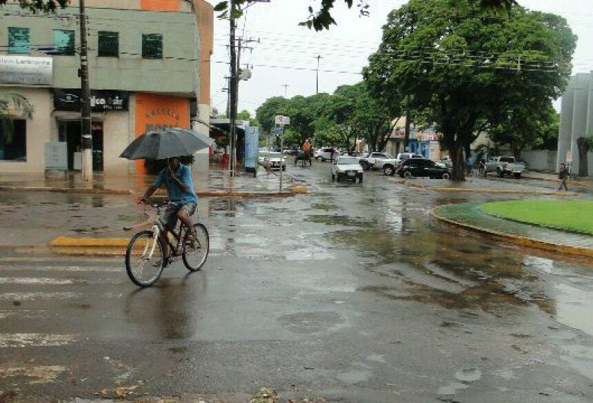 Região central de Caarapó em dia de chuva. Foto: José Carlos