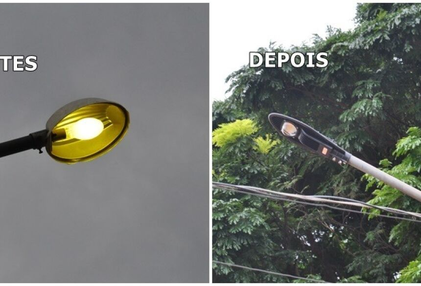 Veja na figura a antiga luminária e o novo equipamento. Foto: Eliton Santos.