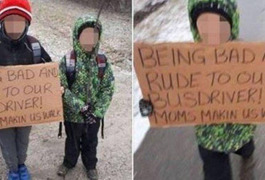 Filhos são obrigados pela mãe a andar 7km sob frio intenso Foto: Reprodução/Facebook