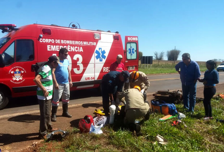 O idoso foi socorrido pelo Corpo de Bombeiros e encaminhado para o Hospital da Sias.(Foto: Ribero Júnior / Portal MS 24h)