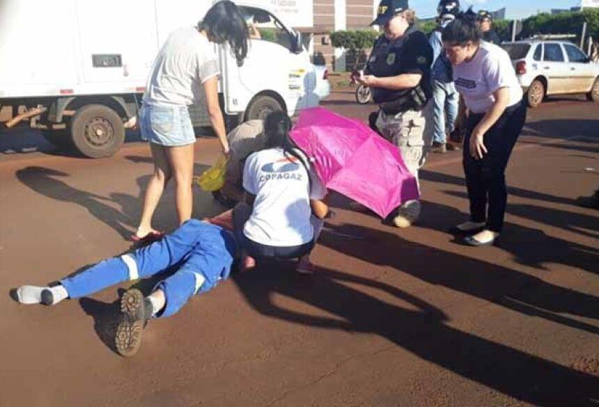 O acidente aconteceu na Rua Coronel Ponciano de Mattos Pereira , em frente ao mercado Assaí (Foto: divulgação/94FM)