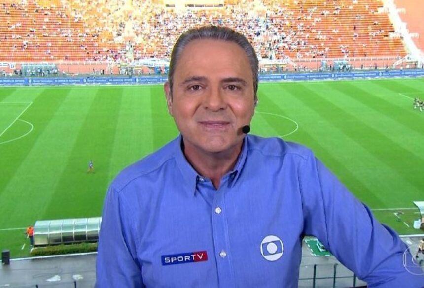 Luís Roberto precisou ser trocado em transmissão da Globo após ficar sem voz (Imagem: Reprodução/ TV Globo)