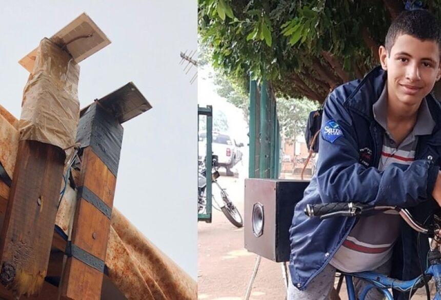 Rogério Gonçalves, de 13 anos, mora em um assentamento em Sidrolândia. Empreendedor, ele adaptou uma caixa de som à sua bicicleta e cobra R$10 para anunciar empresas e com um GPS, presta contas aos empresários da distância que percorreu.