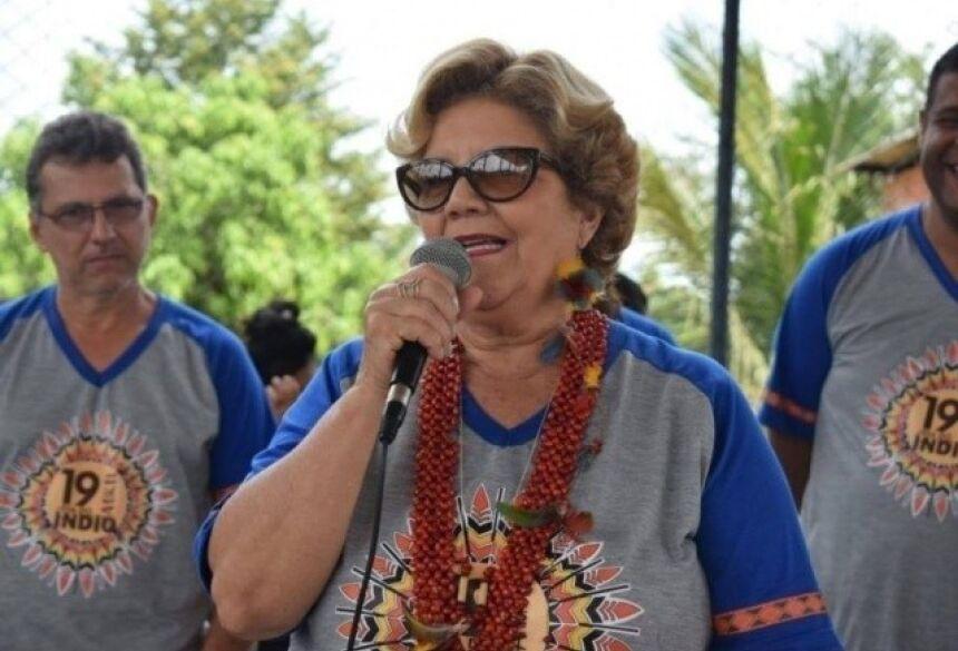 Marlene Bossay, prefeitura cassada de Miranda, durante discurso (Foto: Facebook/Reprodução)
