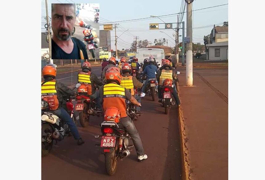 Os Mototaxistas acompanharam o féretro no último adeus ao amigo Francisco De Assis da Silva (AMARELO MOTOTAXI)