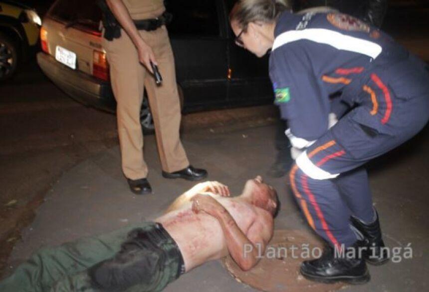 Mancini, levou um golpe na região do tórax. A vítima foi encaminhada com risco a vida, ao Pronto Socorro do Hospital Universitário.