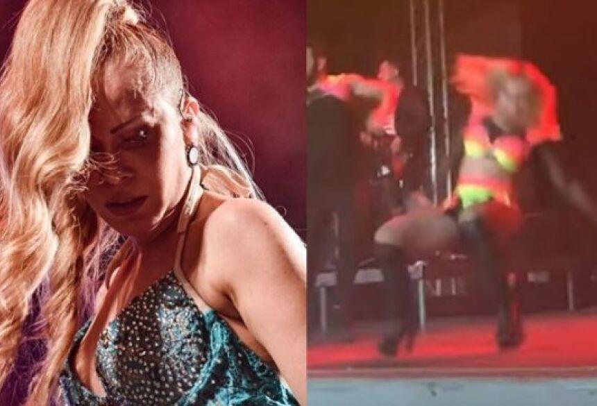 """Joelma cai uno palco durante música """"A Lua Me Traiu"""" (Imagens: Instagram / YouTube)"""