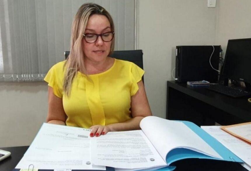 Delegada Anne Karine Sanches Trevizan, responsável pela investigação, durante entrevista (Foto: Clayton Neves)