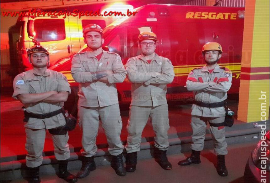 Da esquerda pra direita: Sd Muller, Sd Murian, Sd Roceli e Voluntário ao CBM Joel. / Foto: Robertinho