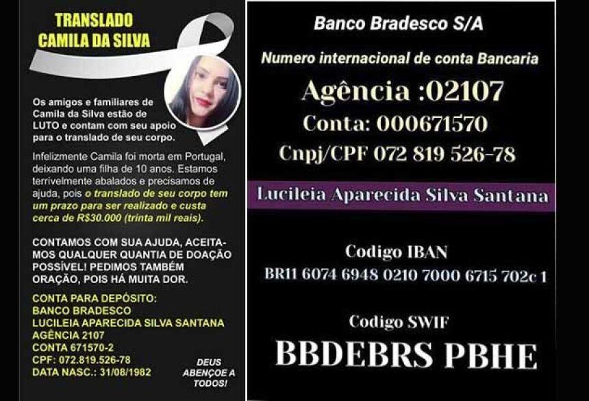 Os amigos e familiares de Camila da Silva estão de luto e contam com seu apoio para o translado de seu corpo