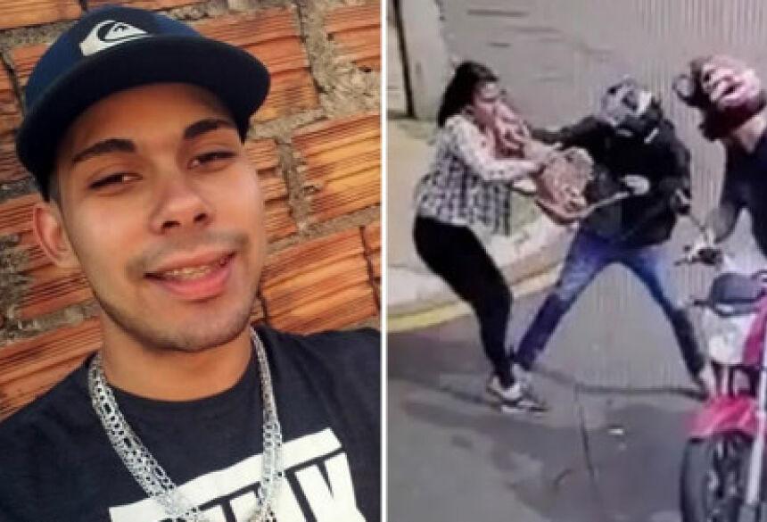 um jovem de 23 anos, acusado de ser um dos ladrões que roubaram uma mulher na manhã desta quarta.