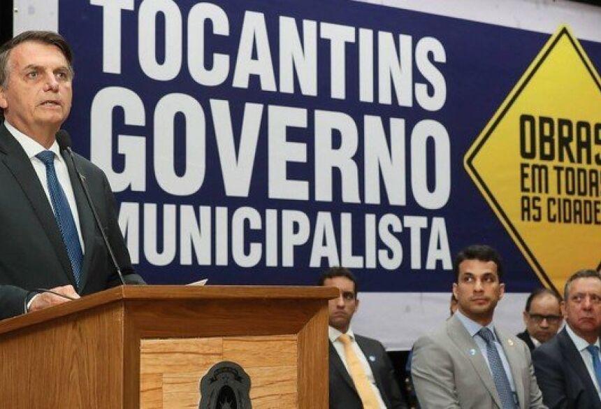Bolsonaro participa de cerimônia de lançamento do programa Governo Municipalista,em Tocantins Foto: Divulgação