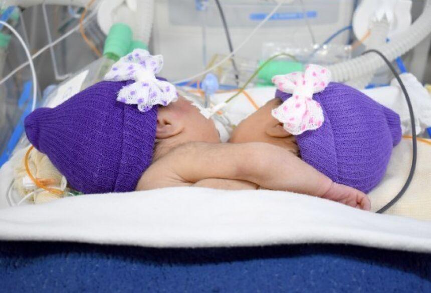 As irmãs nasceram no dia 3 de janeiro, no hospital da Santa Casa de Campo Grande - Foto: Divulgação