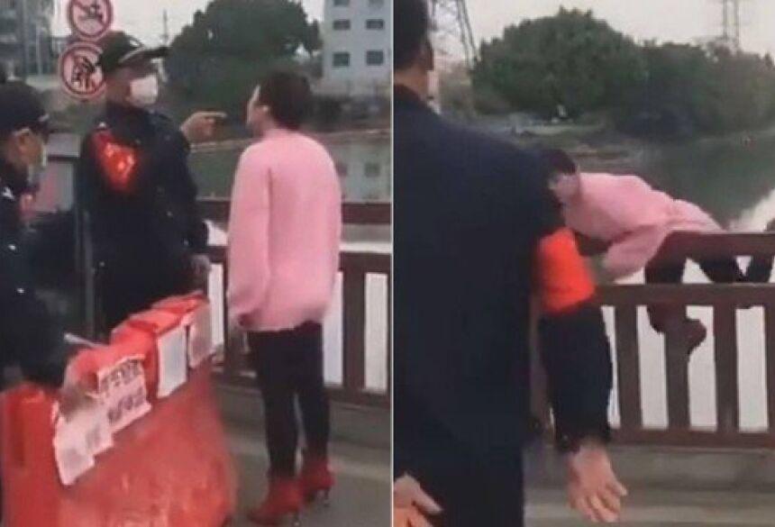 Mulher pula de ponte ao ser barrada sem máscara em bloqueio na China Foto: Reprodução